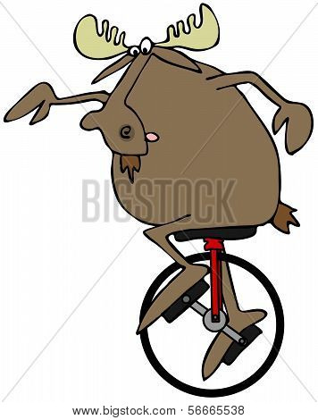 Moose riding a unicycle