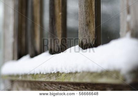 Snow On Window Sill