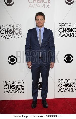 LOS ANGELES - JAN 8:  Stephen Amell at the People's Choice Awards 2014 Arrivals at Nokia Theater at LA LIve on January 8, 2014 in Los Angeles, CA