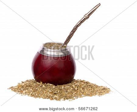 Yerba Mate And Mate In Calabash Isolated On White Background