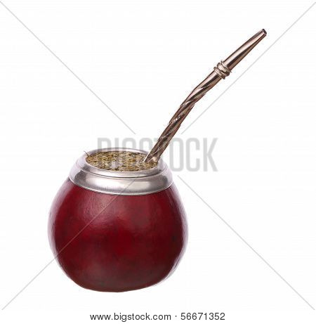 Mate In Calabash Isolated On White Background