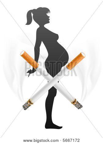schwangere Frau mit Zigarette rauchen Konzept