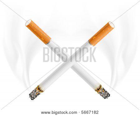 Kreuz der Gefahr, Zigaretten Rauchen Konzept