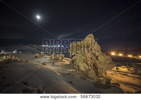 Night view at the mountain side