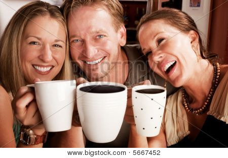 Toasting With Coffe Cups