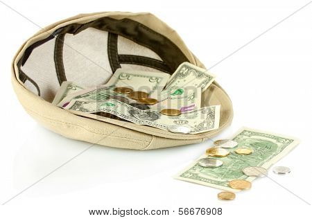 cap with money on a white background
