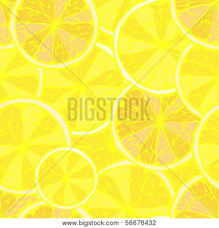 Seamless Bright Yellow Hand Drawn Pattern With Lemon Slices