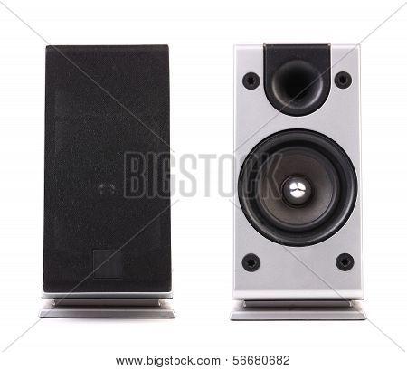 Gray and black sound speaker.