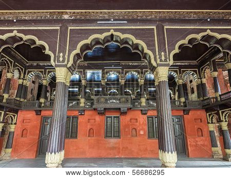 Reception Hall And Royal Box At Tipu Sultan Palace In Bangalore.