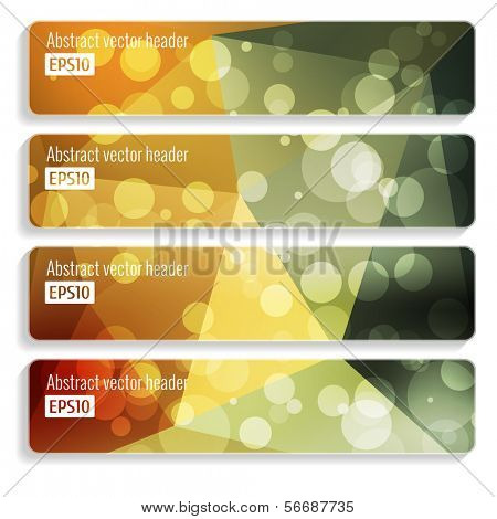 Website header or banner set of triangle pattern with glow bokeh