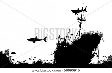 Editable vector silhouette foreground of coral, sharks and fish around a sunken boat