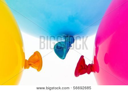 various colorful balloons. symbol of lightness, freedom, celebration