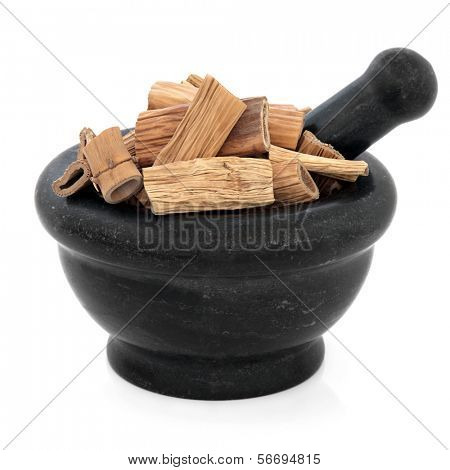 Reed root chinese herbal,medicine in a mortar with pestle over white background. Lu gen. Rhizoma phragmitis.