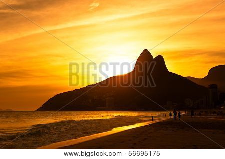 Warm Sunset on Ipanema Beach