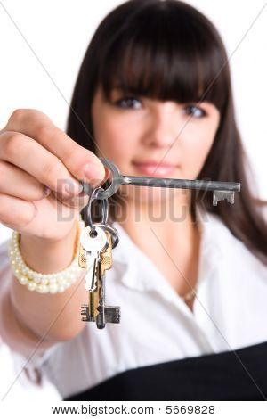 geschäftsfrau Dehnung Schlüssel