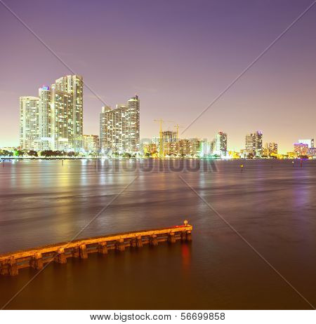 City of Miami Florida night skyline.