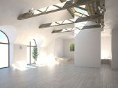 Empty white room with wooden beam and large windows