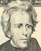 picture of twenty dollars  - Macro portrait of President Andrew Jackson as depicted on the US twenty dollar bill - JPG