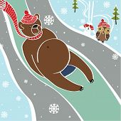 foto of toboggan  - Brown bear is engaged tobogganing - JPG