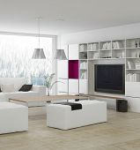 image of stool  - Modern living room with stylish white furniture - JPG