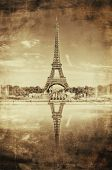 Vintage Sepia Picture of Tour Eiffel (Eiffel Tower) in Paris