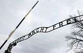 stock photo of auschwitz  - Arbeit macht frei sign  - JPG