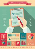 stock photo of blood test  - Flat Medical Infographics Elements plus Icon Set - JPG