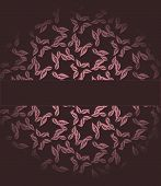 Vinous cover or postcard with pink leaves