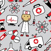 picture of medevac  - Cartoon seamless background with medical icons on gray background - JPG