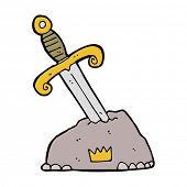stock photo of arthurian  - cartoon sword in stone - JPG