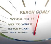 stock photo of encouraging  - A speedometer with red needle pointing to Reach Goal encouraging people to get motivated - JPG