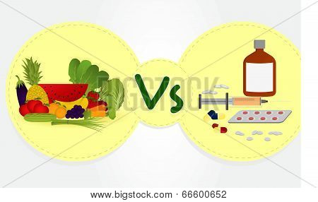 Vegetables And Fruits Versus Drugs.