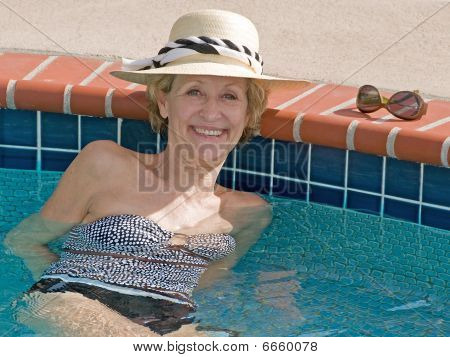 Attractive Senior Woman on Hot Summer Day