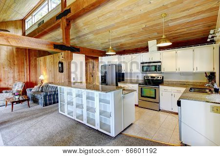 Log Cabin House Interior. Kitchen Room
