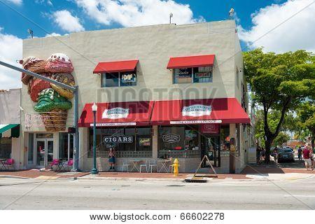 MIAMI,USA - MAY 19,2014 : Handmade cigar factory in Little Havana, Miami