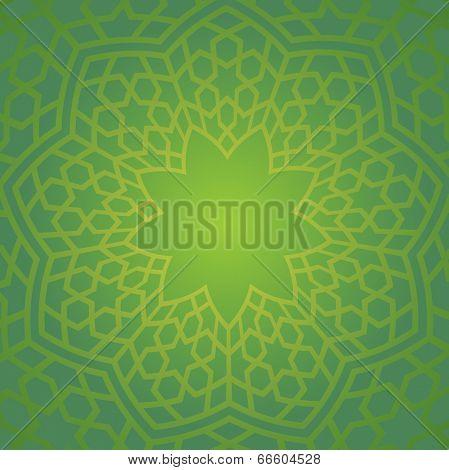 Islamic typical pattern in green color