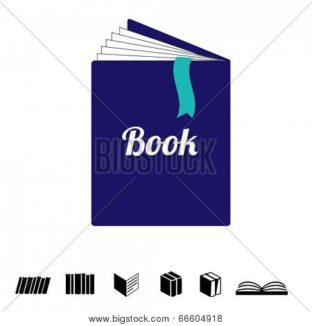 book with bookmark - simple illustration with black book icons