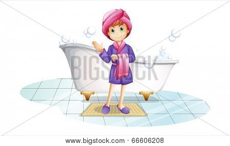 Illustration of a woman near the bathtub on a white background