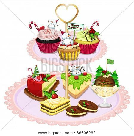 Illustration of a tray with different baked goods on a white background