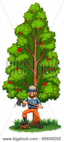 Illustration of a lumberjack under the tall tree on a white background