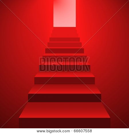 Red Staircase To The Open Door