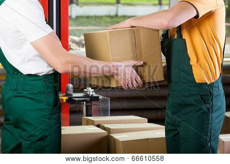 Close-up Of Warehouse Workers With Box
