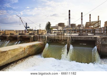 Thermal Electric Power Plant Beside River Side Location Use For Industry And Power Energy Producing