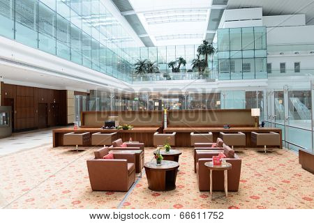 DUBAI, UAE - MARCH 31: Emirates business class lounge interior on March 31, 2014 in Dubai. Emirates is the largest airline in the Middle East, operating from its hub at Dubai International Airport