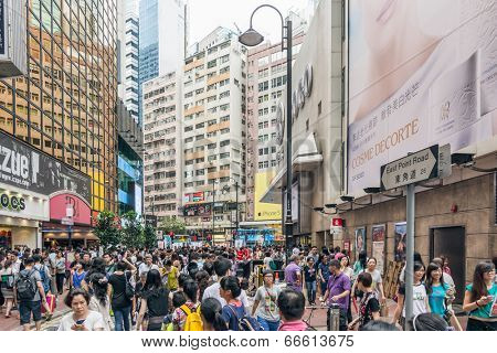 HONG KONG - MAY 17, 2014: Pedestrians walk in the district of Causeway Bay in Hong Kong. Causeway Bay is the world�¢??s costliest retail location.