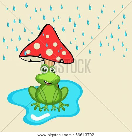 Cute crazy frog sitting under mushroom, seeing and enjoying blue rain drops.