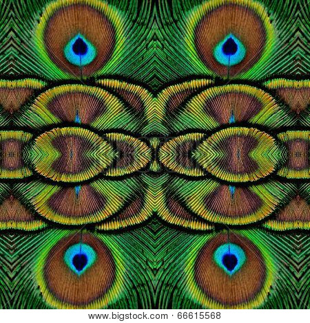 Beautiful Green Background Pattern Made From Green Indian Peacock Bird