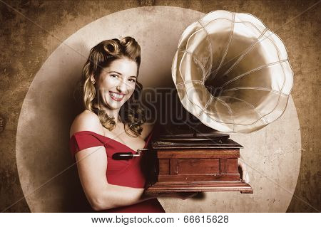 Vintage Pin-up Girl Listening To Record Player