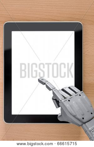 Robot hand using a touchscreen tablet computer, clipping path provided for the blank screen, add your own message or image.