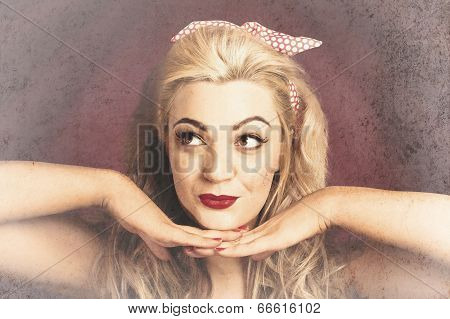 Vintage Face Of Nostalgia. Retro Blond 1940S Girl